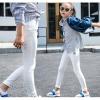 กางเกงขายาวสีขาว ผ้ายืด เอวยางยืด size 130