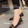 รองเท้า งาน Flat ส้นเมทาลิกสวยหรูติดโบว์ด้านหน้าพร้อมส้นรองเท้าแถบทอง