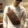 พร้อมส่ง กระเป๋าคาดอก สีน้ำตาล หนังPU ซิป2ช่อง กระเป๋าคาดอกผู้ชาย