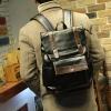 พร้อมส่ง กระเป๋าเป้ สีดำ หนัง PU แบบซิป มีฝาพับ มีช่องเก็บของด้านข้าง มีกระเป๋าเล็กด้านหน้าแบบฝาพับ