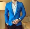 พรีออร์เดอร์ เสื้อสูท ผู้ชาย สีฟ้าเข้ม คอปกแต่งที่ปกเสื้อเท่ห์ แขนยาว กระดุมหน้าหนึ่งเม็ด เสื้อเข้ารูป ใส่ทำงาน ใส่ออกงาน