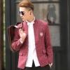 พรีออร์เดอร์ เสื้อสูท ผู้ชาย ลำลอง สีแดง แขนยาว คอจีน กระดุมเม็ดเดียว ปักแต่งกระเป๋า