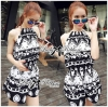 Lady Ribbon's Made Lady Ashley Printed Playsuit in Black and White