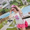 Crytal perfume lace t-shirt and pink shorts&#x2605