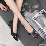 รองเท้าคัทชูหนังนิ่มแต่งโบว์เข็มขัดด้านหน้า