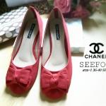 รองเท้าสวย CHANEL STYLE คัชชูสีแดงหนังกำมะหยี่แต่งโบว์ด้านหน้า