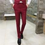 พรีออเดอร์ กางเกงขายาวผู้ชาย สีแดง กางเกงสแลค ใส่แมทซ์กับสูทได้