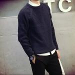 พรีออร์เดอร์ เสื้อไหมพรม คอกลม สีน้ำเงิน แขนยาว สเวตเตอร์ผู้ชาย ผ้านุ่ม ใส่กันหนาว