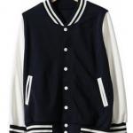 เสื้อเบสบอลสีกรมแขนขาว Baseball Jacket Navy-White
