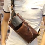 กระเป๋าคาดอก กระเป๋าคาดเอว สีน้ำตาล หนังPU ออกแบบสวย สายปรับได้