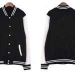 เสื้อเบสบอลสีดำแขนขาว Baseball Jacket Black-White