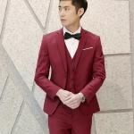 พรีออร์เดอร์ ชุดสูทผู้ชาย สีแดง เสื้อสูท + เสื้อกั๊ก + กางเกงขาวยาว