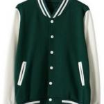 เสื้อเบสบอลสีเขียวแขนขาว Baseball Jacket green-White