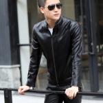 พรีออร์เดอร์ เสื้อแจ็คเก็ตหนัง PU เสื้อหนัง สีดำ คอตั้ง ทรงเรียบ ใส่ขี่มอเตอร์ไซค์ ใส่เป็นเสื้อคลุม ใส่ทำงาน ใส่เท่ ใส่สบาย