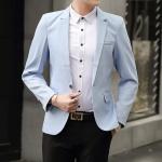 พร้อมส่ง เสื้อสูท ผู้ชาย สีฟ้า แขนยาว กระดุมหน้าหนึ่งเม็ด แต่งขอบกระเป๋าอก