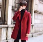 พร้อมส่ง โค้ทผู้ชาย ตัวยาว สีแดง กระดุมหน้า มีซับใน ใส่ไปเที่ยวต่างประเทศ อุ่นแน่นอน เท่ห์