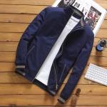 พร้อมส่ง เสื้อแจ็คเก็ต ผู้ชาย สีน้ำเงิน ซิปหน้า คอจีน ปลายแขนจั้ม แต่งลาย กระเป๋าข้างใช้งานได้