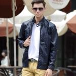 พรีออร์เดอร์ เสื้อแจ็คเก็ตหนัง PU เสื้อหนัง สีน้ำเงิน เข้มทรงเรียบ ใส่ขี่มอเตอร์ไซค์ ใส่เป็นเสื้อคลุม ใส่เท่ ใส่สบาย
