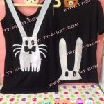 เสื้อคู่รัก กระต่าย เสื้อกล้ามคู่ เสื้อยืดสีดำ