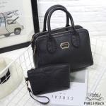 กระเป๋าทรงถือหนังพียู แบบเรียบหรู ดีเทลซิป 2 ข้าง