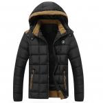 พร้อมส่ง แจ็คเก็ตกันหนาวผู้ชาย สีดำ มีฮูด บุนวม ด้านในบุกำมะหยี่กันหนาว ใส่ลุยหิมะ