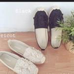 รองเท้าแฟชั่นคัทชูแต่งดอกไม้น่ารักด้านหน้า