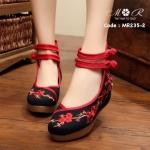 รองเท้านำเข้าปักลายดอกระย้าแบบจีนที่ hot มาก ๆ พื้นยาวซิลิโคนนิ่ม