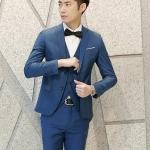 พรีออร์เดอร์ ชุดสูทผู้ชาย สีน้ำเงิน เสื้อสูท + เสื้อกั๊ก + กางเกงขาวยาว