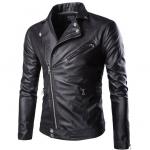 พรีออร์เดอร์ เสื้อแจ็คเก็ตหนัง PU เสื้อหนัง สีดำ คอปก ซิปเฉียง ใส่ขี่มอเตอร์ไซค์ ใส่เป็นเสื้อคลุม ใส่เท่ ใส่สบาย