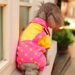 ชุดสี่ขาสุนัข ทูโทนลายจุด สีชมพู-เหลือง พร้อมส่ง