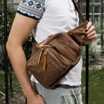 พรีออเดอร์ กระเป๋าคาดอก สีกาแฟ ทำด้วยผ้าแคนวาส ซิปหน้า ออกแบบสวย สายสามารถปรับขนาดได้