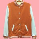 เสื้อเบสบอลสีส้ม Baseball Jacket Orange-White