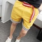 กางเกงขาสั้นแฟชั่นพร้อมส่ง สีเหลือง สดใส เปรี้ยวจี๊ด มีกระเป๋าข้าง แต่งลายขอบขากางเกง ใส่เที่ยว สบายๆ เท่ห์ๆ ชิลๆ