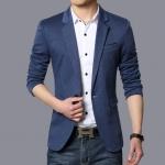 พร้อมส่ง เสื้อสูทผู้ชาย สีน้ำเงิน แต่งขอบกระเป๋าอกสีดำ สูทแขนยาว ใส่ทำงาน ใส่ลำลองได้