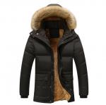 พร้อมส่ง เสื้อโค้ทผู้ชาย สีดำ มีฮู้ดแต่งขนเฟอร์ บุขนด้านใน แต่งหัวไหล่ ออกแบบเท่ห์ ใส่กันหนาว โค้ทกันหนาวผู้ชาย