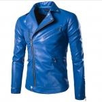 พรีออร์เดอร์ เสื้อแจ็คเก็ตหนัง PU เสื้อหนัง สีน้ำเงิน คอปก ซิปเฉียง ใส่ขี่มอเตอร์ไซค์ ใส่เป็นเสื้อคลุม ใส่เท่ ใส่สบาย