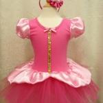 ชุดบัลเล่ต์เจ้าหญิงแขนตุ๊กตาสีชมพู พร้อมที่คาดผมดอกไม้ size 6 ปี