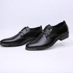 พร้อมส่ง รองเท้าคัชชู ผู้ชาย หนัง PU สีดำ ใส่ทำงาน แบบสวม แต่งเชือกหลังเท้า
