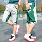 พร้อมส่ง กางเกงวอร์มขา5ส่วน สีเขียว ตัดกับสีเทา ปลายขาจั้ม แฟชั่นผู้ชายสไตล์เกาหลี