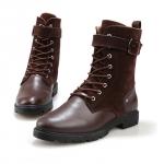 พร้อมส่ง รองเท้าบูทผู้ชาย รองเท้าหนัง PU แต่งกำมะหยี่ สีน้ำตาล แบบผู้เชือก มีสายรัดแข้ง ใส่เที่ยว ใส่ทำงาน ใส่สบาย