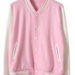 เสื้อเบสบอลสีชมพูแขนขาว Baseball Jacket Pink-White