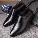 พร้อมส่ง รองเท้าคัชชู ผู้ชาย หนัง PU สีดำ ใส่ทำงาน แบบสวม มีส้น