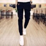 พร้อมส่ง กางเกงขายาว สีดำ ปลายขาจั้ม กางเกงผู้ชาย