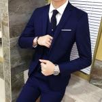 พร้อมส่ง ชุดสูทผู้ชาย สีน้ำเงิน เสื้อสูท+เสื้อกั๊ก+กางเกง เข้าชุด สุดเท่ห์