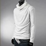 พร้อมส่ง เสื้อคอเต่าผู้ชาย สีขาว ใส่กันหนาว