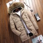 พรีออร์เดอร์ เสื้อโค้ทขนเป็ด สีกากี แขนยาว มีฮูด แต่งขนเฟอร์ ใส่กันหนาว ใส่ลุยหิมะ เล่นสกีได้ โค้ทผู้ชาย