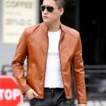 พรีออร์เดอร์ เสื้อแจ็คเก็ตหนัง PU เสื้อหนัง สีส้ม คอตั้ง ทรงเรียบ ใส่ขี่มอเตอร์ไซค์ ใส่เป็นเสื้อคลุม ใส่ทำงาน ใส่เท่ ใส่สบาย