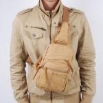 พร้อมส่ง กระเป๋าคาดอก สีกากี ทำด้วยผ้าแคนวาส ซิปหน้า ออกแบบสวย สายสามารถปรับขนาดได้