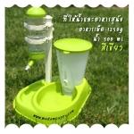 (พร้อมส่ง) ที่ให้น้ำและอาหารสุนัข สีเขียว