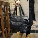 พร้อมส่ง กระเป๋าถือ ผู้ชาย สีดำ หนัง PU มีช่องเก็บของเยอะ มีสายยาวสำหรับสะพาย ถอดสายได้